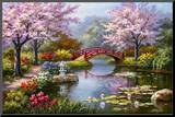 Japanese Garden in Bloom Mounted Print by Sung Kim