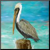 Pelicans on Post I Mounted Print by Julie DeRice