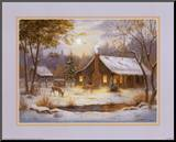 Log Cabin with Deer Mounted Print by M. Caroselli