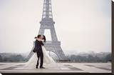 Bride & Groom at Eiffel Tower Stretched Canvas Print