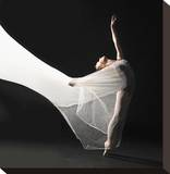 Ballet Dancer Jump White Veil Stretched Canvas Print