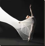 Ballet Dancer Jump White Veil Stretched Canvas Print