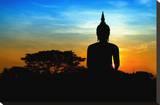 Black Buddha Silhouette atDusk Stretched Canvas Print