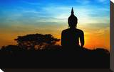 Black Buddha Silhouette atDusk Stretched Canvas Print