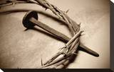 Jesus Crown of Thorns & Nail Stretched Canvas Print