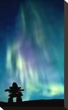 Inukshuk & Northern Lights Stretched Canvas Print
