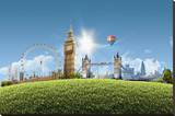 Composition London Landmarks Stretched Canvas Print