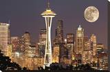 Lights on in Seattle Full Moon Stretched Canvas Print