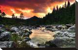 Mountain and River at Sunset Stretched Canvas Print