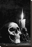 Skull Candle Black & White Stretched Canvas Print