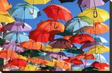 Umbrellas Decor Madrid Getafe Stretched Canvas Print
