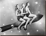 Three Women Sitting on Rocket Stretched Canvas Print