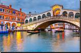 Rialto Bridge at Dusk Venice Stretched Canvas Print