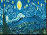 Starry Night Panorama Stretched Canvas Print by Vincent van Gogh