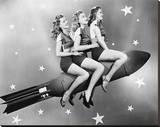 Three Women Sitting on Rocket Stretched Canvas Print