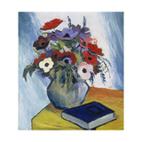 Still-Life with Anemones and Blue Book, 1911 Giclée-tryk af August Macke