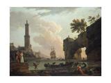 A Mediterranean Coastal Landscape at Sunset Giclée-Druck von Claude Joseph Vernet