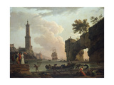 A Mediterranean Coastal Landscape at Sunset Poster by Claude Joseph Vernet