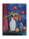 Red Tulips in White Vase, 1912 Giclee Print by August Macke