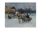 Polish Winter Landscape with Sleds Giclee Print by Alfred von Wierusz-Kowalski