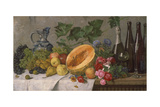 Still Life with Grapes, Pears, Apples and Melon, as Well as a Bottle of Wine Giclee Print by August Jernberg