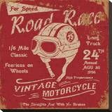 Vintage Motorbike Race Label Stretched Canvas Print
