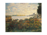 Red Flowers at the Bank at Argenteuil, 1877 Giclee Print by Claude Monet