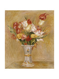 Tulips in a White Vase Giclee Print by Pierre-Auguste Renoir