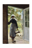 Young Woman from Boyardville (Ile D'Oléron) on the Doorstep Giclee Print by Anna Bilinska