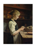 The Little Potato Peeler, 1886 Prints by Albert Anker