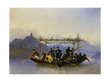 Students Crossing the Rhine at the Drachenfels Mountain, 1839 Giclee Print by Caspar Netscher