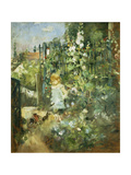 A Child in the Hollyhocks, 1881 Stampa giclée di Camille Pissarro