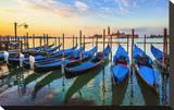 Venice Gondolas Sunrise Italy Stretched Canvas Print