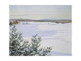 Sunny Landscape in Winter (Sweden) Giclee Print by August Hagborg