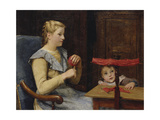 Vreneli Stuckl with Her Child Reeling Wool, 1905 Giclee Print by Albert Anker