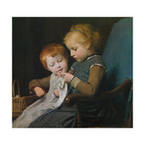 The Young Knitters Giclee Print by Albert Anker