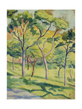 A Meadow with Trees, 1910 Giclée-Druck von August Macke