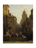 Chat Close to the Pharmacy Called the 'Strochen-Apotheke', after 1875 Giclee Print by Carl Spitzweg