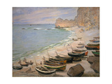 Beach with Boats at Etretat, 1883 Giclee Print by Claude Monet