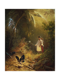 The Butterfly Catcher Giclee Print by Carl Spitzweg