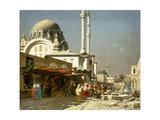 A Market Bazaar in Constantinople Impression giclée par Alberto Pasini