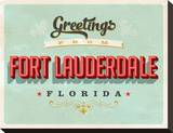 Welcome Fort Lauderdale Grunge Stretched Canvas Print