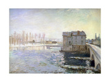 The Water Mill at the Bridge at Moret in Winter, 1890 Giclee Print by Alfred Sisley
