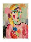 Girl with Blue Eyes and a Plait (Maedchen Mit Blauen Augen Und Einem Zopf), C. 1916 Giclee-trykk av Alexej Von Jawlensky