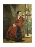 Lady with Parrot and Dog, C. 1880 Giclee Print by Carl Constantin Steffeck