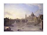 A View of St. Peter's, Rome with Bernini's Colonnade and a Procession in Carriages Giclee Print by Antonio Joli