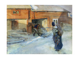 Farm in Winter, Bingsjo Giclee Print by Carl Hilgers