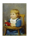 Girl in Her Child's Chair, 1878 Print by Albert Anker