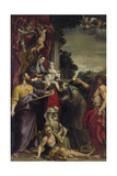 Madonna on the Throne with Saint Matthew, 1588 Giclée-tryk af Annibale Carracci
