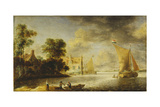 Coastal Landscape with Farmhouse, Ferry House and Sailing Boats, before 1640 ジクレープリント : カミーユ・ピサロ